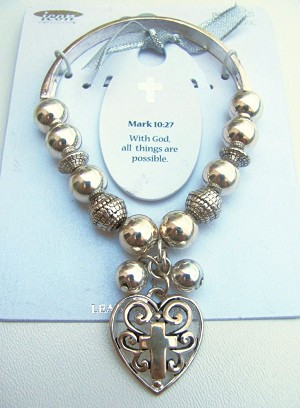 Mark 10:27 Cross Charm Inspirational Message Bracelet, Silver Tone