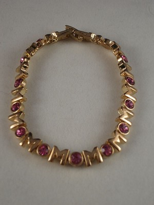 Mom Bracelet, Gold Color, Pink Zircon Stones, Non-Allergic Jewelry