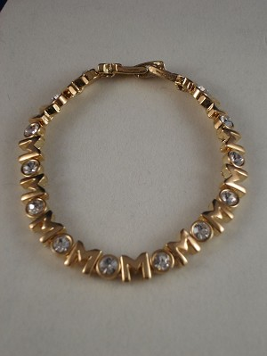 Mom Bracelet, Gold Color, White Zircon Stones, Non-Allergic Jewelry