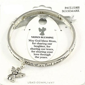 Mom's Blessing Bracelet Inspirational Message Angel Charm Silver