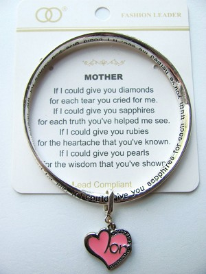 Mother Charm Inspirational Twisted Bangle Bracelet w/ Engraving Silver Plated