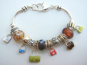 Multicolor Fashion Purse Charm Bead Bracelet, Pandora Inspired Vintage Style