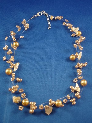 Necklace, Three Layers of Beige Beads, Artificial Pearls & Genuine Stones, Fashion European Jewelry