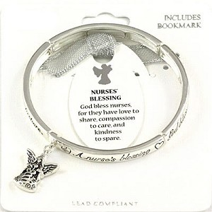 Nurses' Blessing Bracelet Inspirational Message Angel Charm Silver