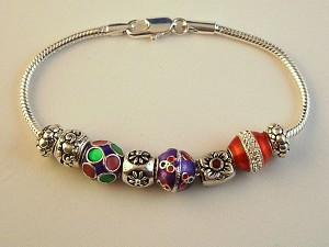 Pandora Inspired Christmas Charm Bracelet, Flower, Colorful Vintage Metal Beads