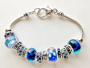 Pandora Inspired Crazy Blue Murano Glass Bead Bracelet Vintage Style