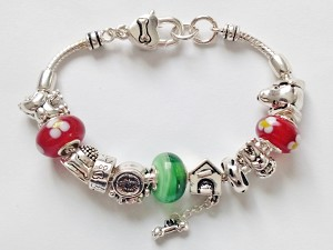 Pandora Inspired Dog Lover Charm Bead Bracelet, Dog House Bone Paw