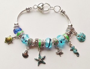 Pandora Inspired Sea Life Charm Bracelet Seahorse Turtle Star Shell, Blue Color
