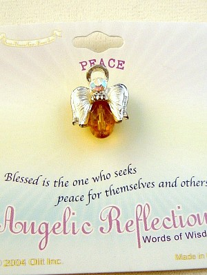 Peace Angel Pin, Topaz Genuine Austrian Crystal, Silver Finish Metal