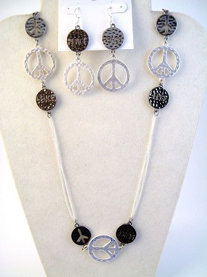 "Hammered Peace Sign Silver Tone 38"" Necklace & Earrings Jewelry Set"