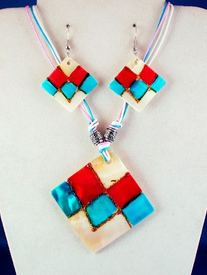Pink, Red, Turquoise, Crazy Summer Colors, Genuine Shells Rhomb Pendant Set of Necklace & Earrings, Metal Beads, Cotton Cord, European Fashion Jewelry