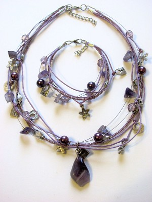 Purple Amethyst Pendant Heart Flower Lock Charm Necklace Bracelet Set