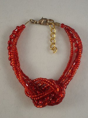Red Beads Contemporary Knot Bracelet
