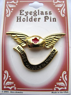 Red Cross Hat & Nurse Angel Gold Wings Eyeglass Holder Pin