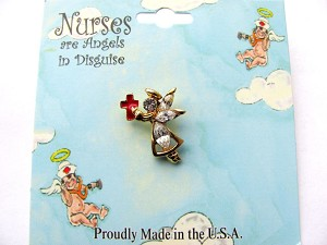 Red Cross Hat Nurse Angel Pin, Genuine Austrian Crystals, Gold Finish Meta