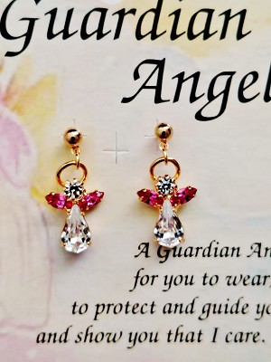 Rose Zircon-October Birthstone Guardian Angel Post Earrings, Genuine Austrian Crystals