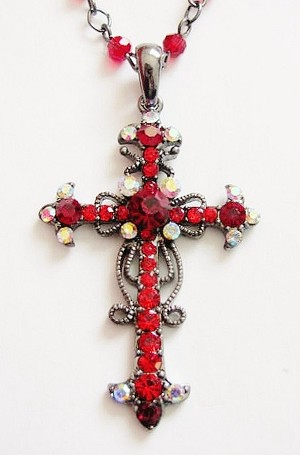 Ruby Red Vintage Cross Pendant Necklace Filigree Style, Genuine Austrian Crystals