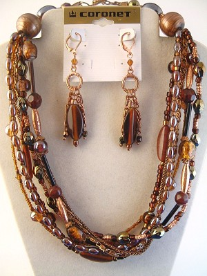 Seven Layers Copper & Glass Beads Necklace Earring Jewelry Set