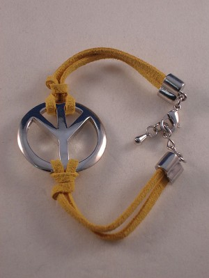 Silver Peace Sign Bracelet, Yellow Cord, Anti-allergic Jewelry