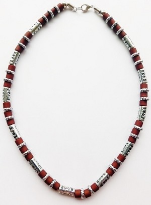 South Beach Men's Necklace Beaded Two-tone Chrome Brown, Surfer Style Choker
