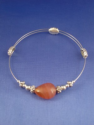Stretching Beaded Bangle Bracelet, Red Stained Glass & Metal Beads, Sterling Silver Plated