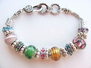 Summer Colors Murano Glass Bead Bracelet Pandora Style Inspired