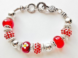 Summer Colors Ruby Red Bead Bracelet Pandora Inspired Murano Glass