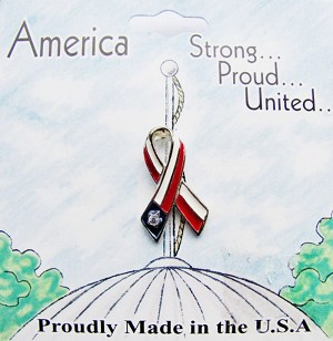 Support America American Flag Ribbon Pin, Genuine Austrian Crystals