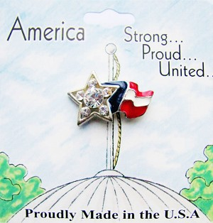 Support America, American Flag Star Pin, Genuine Austrian Crystals