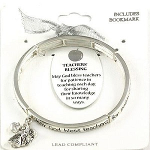 Teacher's 1st Blessing Bracelet Inspirational Message Angel w/ Apple Charm Silver