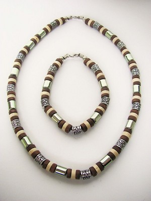 Tri-tone Brown Surfer Beaded Necklace & Bracelet, Men's Beach Jewelry