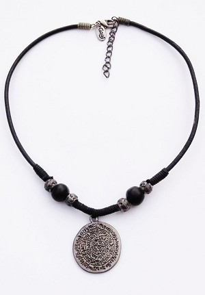 Tribal mystic symbols pendant mens surfer beach necklace choker black aloadofball Images