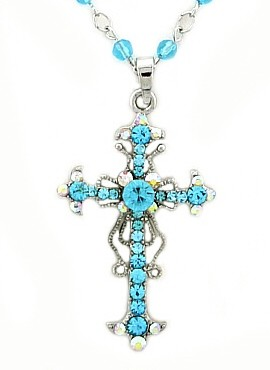 Turquoise Aqua Vintage Cross Pendant Necklace Filigree Style, Genuine Austrian Crystals