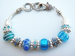 Turquoise Blue Murano Glass Bead Bracelet Pandora Inspired Vintage Style