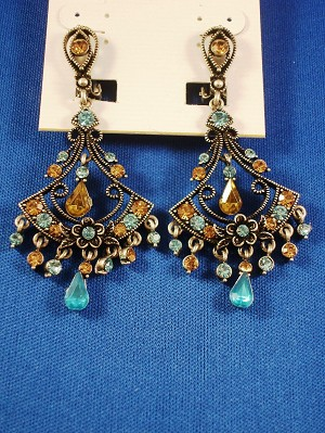 Turquoise CZ Cubic Zirconia Crystal Filigree Clip Earrings