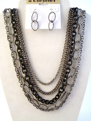 Two-tone Smoked Black Multi-Layers Chain Necklace Earrings Jewelry Set