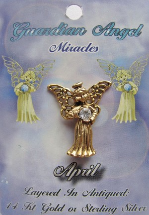 Vintage Gold Diamond-April Birthstone Guardian Angel Pin, Genuine Austrian Crystal