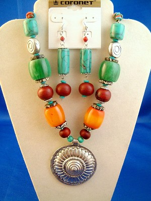 "Vintage Style Turquoise Bulky Set of Necklace & Earrings, 2 "" Heavy Silver Finish Metal Pendant w/ Spiral Galaxy, Beads, Anti-allergic Jewelry"