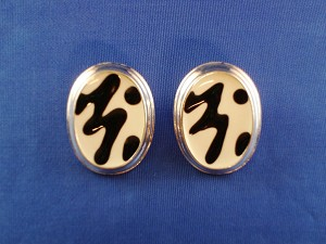 White Tiger Animal Print Oval Post Earrings, Silver Tone Anti-allergic Metal