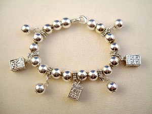 Wish Box Charms Stretching Bracelet, Silver Tone Ball Beads, Anti-allergic Metal