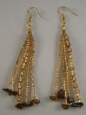 "Yellow Beads & Genuine Stones 4"" Extra Long Contemporary Earrings"