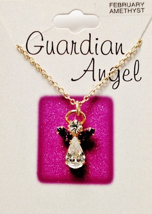 Amethyst-February Birthstone Guardian Angel Pendant Necklace, Genuine Austrian Crystals