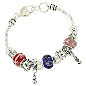 Best Friend Murano Charm Bead Bracelet Pandora Inspired Vintage Style