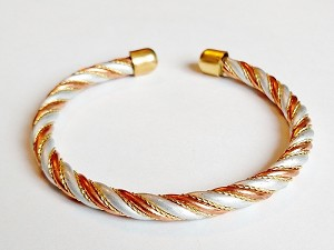 Copper Cuff Adjustable Bracelet Three-tone Twisted Wire