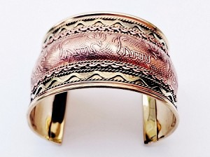 "Elephant Ornament 1 3/4"" Extra Wide Copper Cuff Adjustable Bracelet Two-tone"