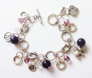 Happy Charms Bracelet Yin-Yang Elephant, Genuine Amethyst