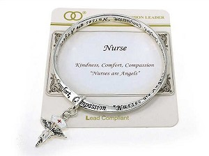 Nurses are Angels Inspirational Charm Bracelet, Red Cross Hat Wings Heart