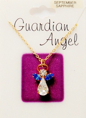 Sapphire-September Birthstone Guardian Angel Pendant Necklace, Genuine Austrian Crystals