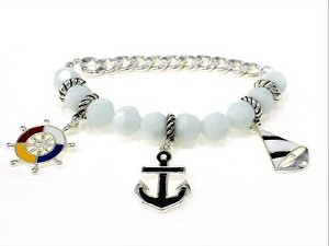 White/Silver Tone Naval Sailing Chain Bracelet, Anchor Wheel Ship Charms, Nautical Jewelry