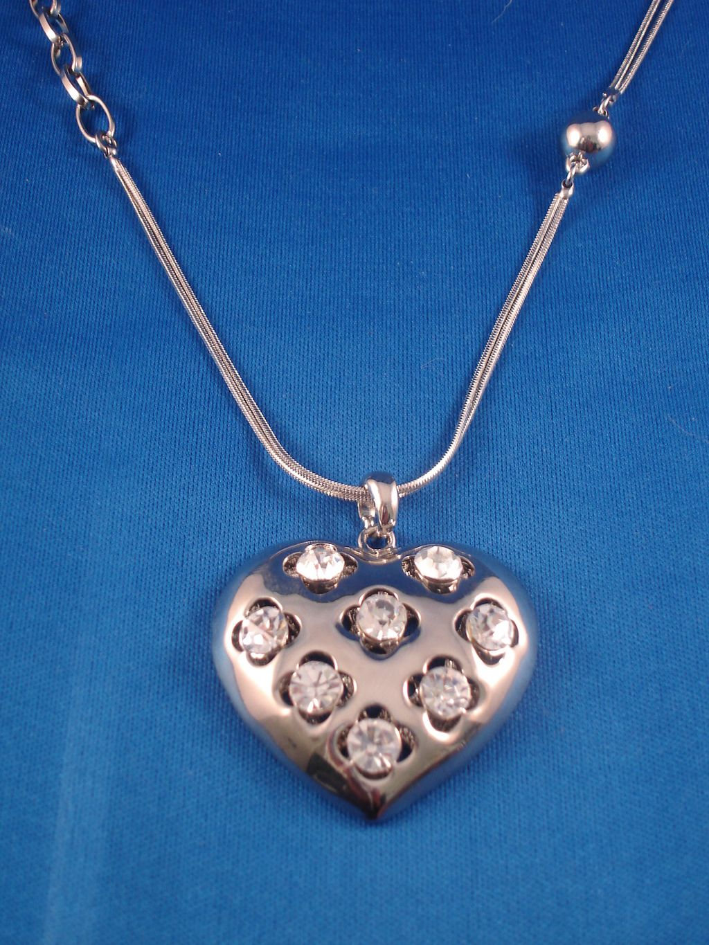 "1 3/4"" Heart Pendant with CZ Stones, 28"" Chain Necklace, Anti-allergic Jewelry"